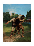 The Wrestlers Giclee Print by Gustave Courbet