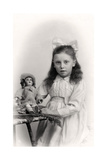 A Young Girl Holding a Doll, 20th Century Giclee Print