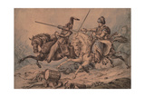 Russian Cossack in Combat with a Mameluke, 1815 Giclee Print by William Heath