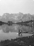 Misurina Lake, Sorapiss Peaks and the Dolomites, Italy, C1900 Photographic Print by  Wurthle & Sons