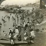 Bathing at a Ghat on the Ganges, Calcutta, India, C1900s Photographic Print by  Underwood & Underwood