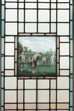 A Late Victorian Leaded Glass Window with the Golfers, C. 1890 Photographic Print by Charles Edmund Brock