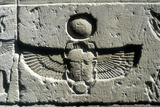 Limestone Relief of a Scarab Beetle and Vulture Wings under a Disk of the Sun, Edfu, Egypt Fotografisk tryk