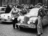 Three Women with a Sunbeam Talbot, Monte Carlo Rally, 18th January 1954 Photographic Print