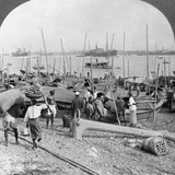 Harbour of Rangoon on the Irawaddy River, Burma, 1908 Reproduction photographique