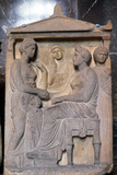 Ancient Greek Relief Showing Friends Greeting Each Other Photographic Print