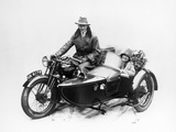 Man Riding an Ajs Motorbike with a Woman in the Sidecar, 1939 Photographic Print