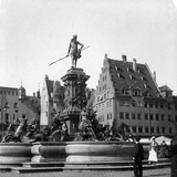 The Neptune Fountain, Nuremberg, Germany, C1900s Photographic Print by  Wurthle & Sons