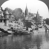 A Burning Ghat on the Ganges at Benares (Varanas), India, 1900s Photographic Print by  Underwood & Underwood