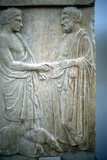 Relief Showing an Athenian Youth Greeting Older Man, 5th Century Bc Photographic Print