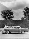 Woman with a 1957 Cadillac Coupe De Ville Reproduction photographique