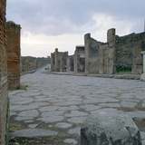 A Cobblestone Roman Road in Pompeii, Italy Photographic Print
