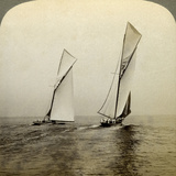 Shamrock I and Shamrock III in a Trial Race Off Sandy Hook, USA Photographic Print by  Underwood & Underwood