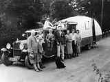 Family Group with their 1930 Fiat Towing a Caravan, (C1930) Photographic Print