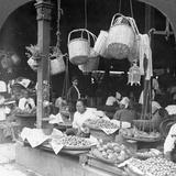 Shops in a Native Market, Rangoon, Burma, 1908 Photographic Print