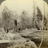 Winter Scene, Luna Island, Niagara Falls, New York, USA Photographic Print