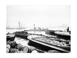 Steam Tug Moving Between Barges on the Thames, London, C1905 Photographic Print