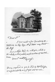 A Letter from Edward Young, and a View of His Residence at Welwyn, Hertfordshire, 1740s Giclee Print by Edward Young