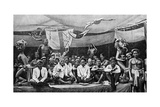 Traditional Enemies Assembled at a Peace Conference in Claudetown, Sarawak, C1899 Giclee Print by Charles Hose