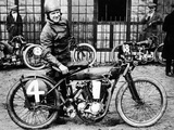 Fw Dixon with a Harley-Davidson, 1923 Photographic Print