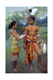 Young Iban or Sea Dayaks People in Gala Attire, Borneo, 1922 Giclee Print by Charles Hose