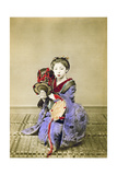 Geisha Playing the Tsuzumi, Japan, 1882 Giclee Print by Felice Beato