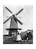 Traditional Dutch Scene with Windmill, Holland, 1936 Giclee Print by Donald Mcleish