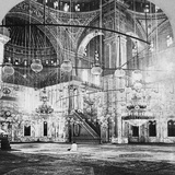 Interior, Mosque of Muhammad Ali, Cairo, Egypt, 1899 Fotografisk tryk af BL Singley