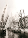 Canal Bridge and Boats, Dordrecht, Netherlands, 1898 Photographic Print by James Batkin