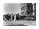 Procession of the Tsar's Family Outside the Cathedral of Christ the Saviour, Moscow, Russia, 1912 Giclee Print by K von Hahn