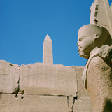 Statue and Obelisk, Karnak, Egypt, 20th Century Photographic Print by Jacques Marthelot