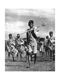 Bandsmen of the Northern Rhodesia Regiment Beat a Military Tattoo, Zimbabwe, Africa, 1936 Giclée-tryk