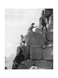 Climbing the Great Pyramid, Egypt, Late 19th Century Giclee Print by John L Stoddard