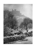 Edinburgh Castle in the Snow, from Princes Street Gardens, Scotland, 1924-1926 Giclee Print by W Reid