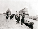Men and Boys in Traditional Costume by a Canal Bank, Marken Island, Netherlands, 1898 Photographic Print by James Batkin