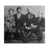 Osip Mandelstam, Korney Chukovsky, Benedikt Livshits and Yury Annenkov, 1914 Giclee Print by Karl Karlovich Bulla