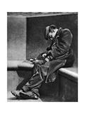 A Man Sleeping on Blackfriars Bridge, London, 1926-1927 Giclee Print by Walter Benington