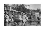 Children Paddling in the Fountains at Trafalgar Square, London, 1926-1927 Giclee Print by  Whiffin