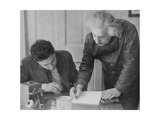 Albert Einstein, German-Swiss-American Mathematician and Physicist, with a Student Giclee Print