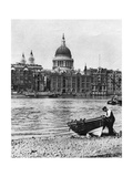 Thames Waterman and His Boat on the 'Beach' at Bankside, London, 1926-1927 Giclee Print by  McLeish