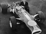 Graham Hill and Colin Chapman with Lotus 49, 1967 Reproduction photographique