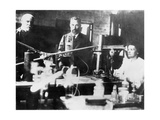 Pierre and Marie Curie, French Scientists, at Work in the Laboratory Giclee Print