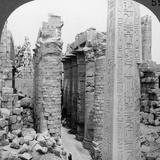 Middle Aisle of the Great Hall and Obelisk of Thutmosis I, Temple at Karnak, Thebes, Egypt, 1905 Photographic Print