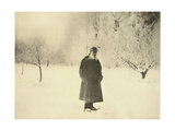 Russian Author Leo Tolstoy Taking a Winter Walk, 1900s Giclee Print by Sophia Tolstaya