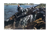 German Tank Fording a River, Russia, 1941 Giclee Print
