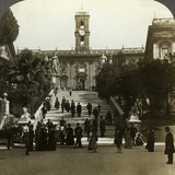 Senatorial Palace, Piazza Del Campidoglio, Capitoline Hill, Rome, Italy Photographic Print by  Underwood & Underwood