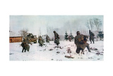 German Infantrymen Following a Tank Towards Moscow in the Snow, Russia, 1941 Giclee Print