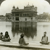 Fakirs at Amritsar, Looking South across the Sacred Tank to the Golden Temple, India, C1900s Photographic Print by  Underwood & Underwood
