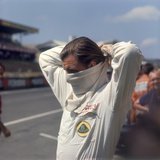 Graham Hill Getting Ready for the French Grand Prix, Le Mans, France, 1967 Photographic Print