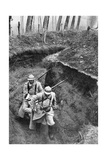 French Soldiers Carrying a Wounded Companion from the Front, First World War, 1917 Giclee Print